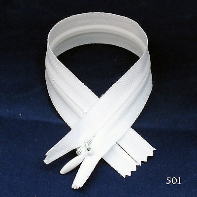 """12 pcs Quality YKK Invisible Zipper Top Open Bottom Closed 8/"""" White #501"""