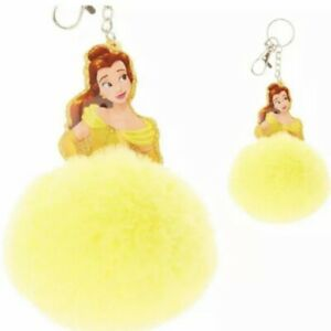 2X-Disney-Beauty-and-the-Beast-Princess-Belle-Keychain-Fob-Yellow-Furry-Puff-Pom
