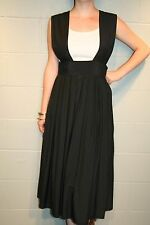 M Black Vtg 80s Gianna Hi Waist Suspender Criss Cross Jumper Midi Skirt Dress