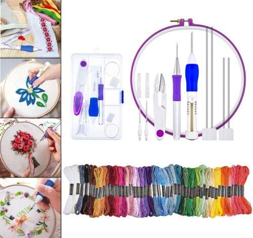Kit Stitching Punch Needle Tool W//  50 Farben Nähgarne W//  Aufbewahrungskiste