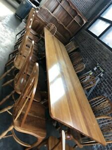 Dining Room Table Set - 16 Chairs w/Hutch - Hand made ...
