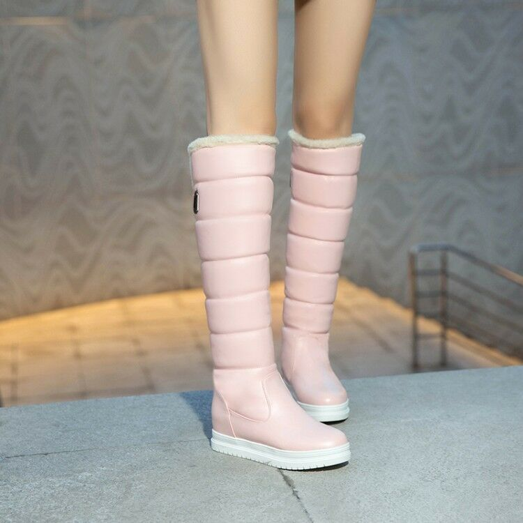 Womens Quilted Snow Furry Winter Combat Wedge Heel Casual Over The Knee Boots SZ