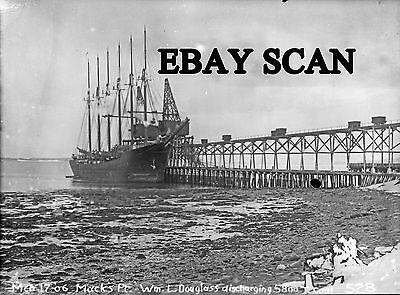 COPY NEG Bangor & Aroostook Searsport coal wharf with six-masted schooner 19