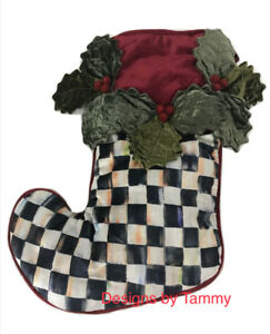 Mackenzie-Childs-Courtly-Check-Holly-And-Berry-Christmas-Stocking