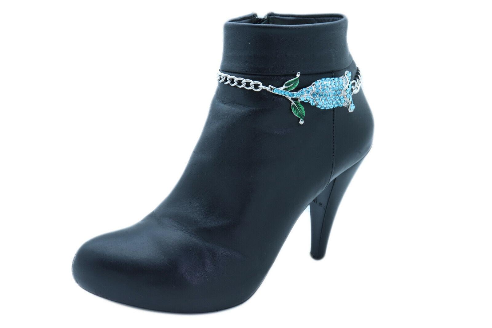 Women Silver Metal Chains Boot Bracelet Shoe Anklet Turquoise Blue Flower Charm
