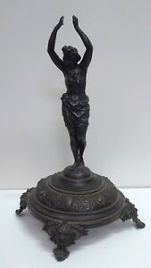 ANTIQUE-CAST-BRONZE-FIGURAL-LADY-STATUE-ROMAN-ORNATE-FOOTED-BASE