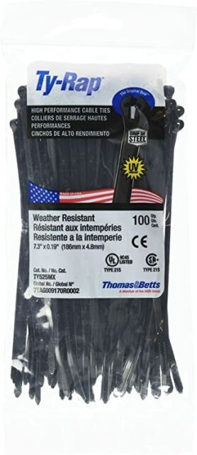 UltraViolet Resistant Black for sale online Thomas /& Betts TY28MX Cable Tie 50lb 14in