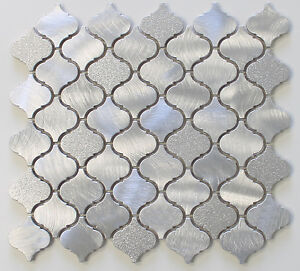 Image Is Loading Cosmo Brushed Aluminum Arabesque Mosaic Tiles Kitchen Backsplash