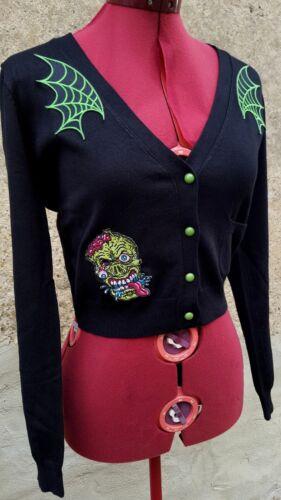 Pin Cobweb Horreur Cardigan Up Punk Psychobilly Rockabilly Gilet Zombie 7rYwwxqn1