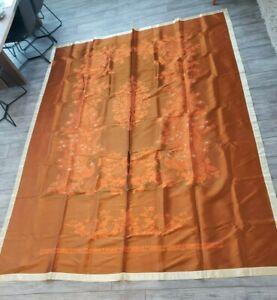 Vintage-Brocaded-Flowers-Chinese-Silk-Bedspread-Throw-Peacock-Orange-Brown-Cream