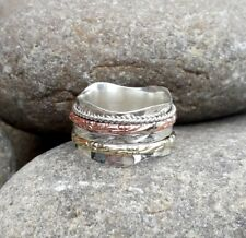 Solid 925 Sterling Silver Spinner Ring Meditation Ring Statement Ring Size se137
