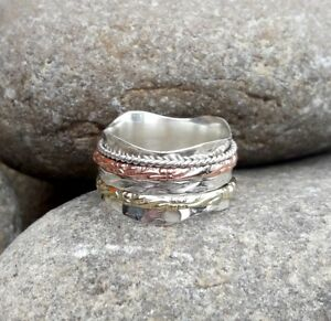 Solid-925-Sterling-Silver-Spinner-Ring-Meditation-Ring-Statement-Ring-Size-srR27