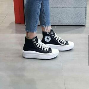 Scarpe Converse All Star Platform con zeppa 4 cm alta nera