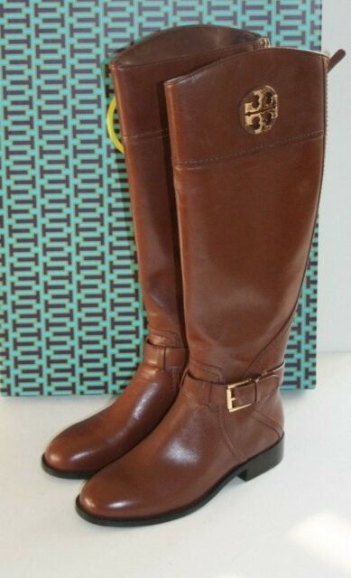 2eb78e24546  498 NEW Tory Burch ADELINE 20mm Almond Leather Tall Riding Boots 5   35