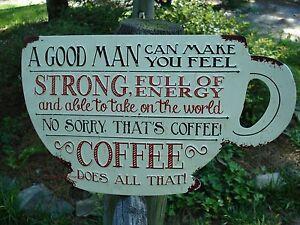 *EMBOSSED METAL SIGN* COFFEE cup cafe restaurant diner donuts shop espresso mug
