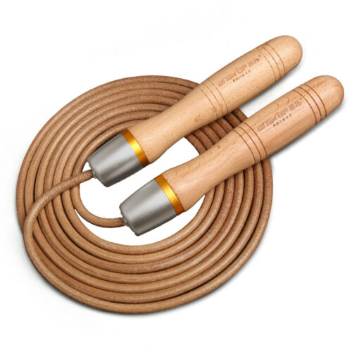 Wooden Universal  Adjustable Jump Rope Bearing Handle Adult Faux Leather Charm
