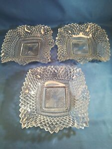 Federal-Glass-Traditions-Clear-Square-Bon-Bon-Dish-Set-of-3