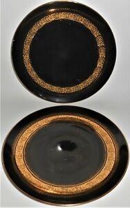 Rudolf-Wachter-Bavaria-Porcelain-Black-W-Gold-Pair-Dinner-Plates-Pattern-6771