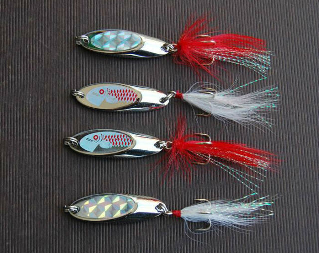 5PCS Fishing Spoon Lure Treble Feather Hook Spinner baits 7g~ 15g 25g 40g 50g