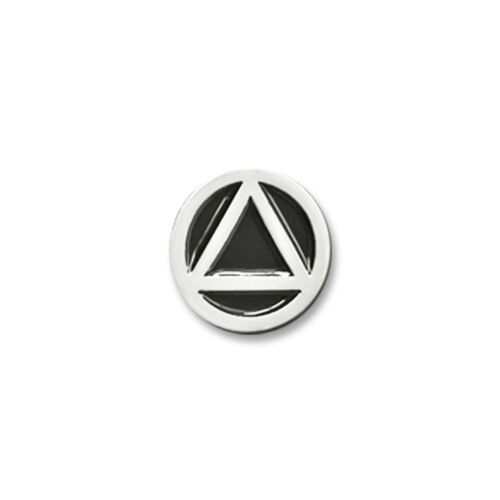 """AA Circle//Triangle Small Black and Silver Enameled Lapel Pin 3//8/"""""""