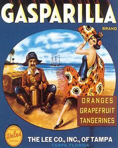 Image Is Loading POSTER GASPARILLA SPANISH PIRATE DANCER FLORIDA FRUITS VINTAGE