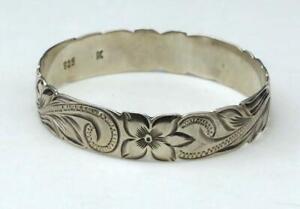 Continental floral design 925 sterling silver bracelet bangles