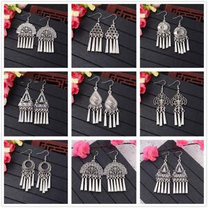 Vintage-Bohemian-Silver-Ethnic-Tassel-Gypsy-Drop-Dangle-Earring-Women-039-s-Earrings