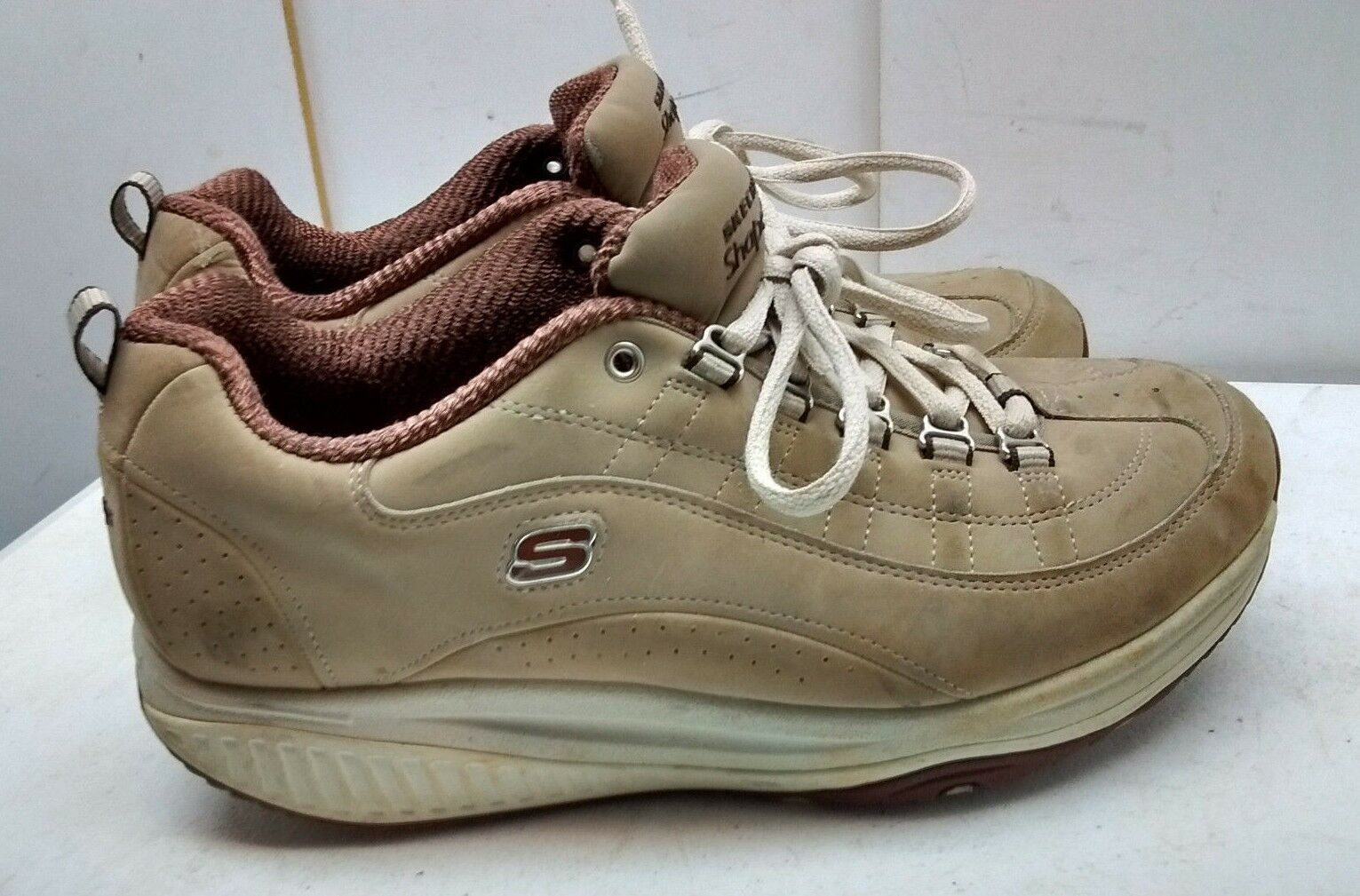 Skechers Shape Ups Women Leather Brown Athletic Fitness Toning Walking shoes 8.5M