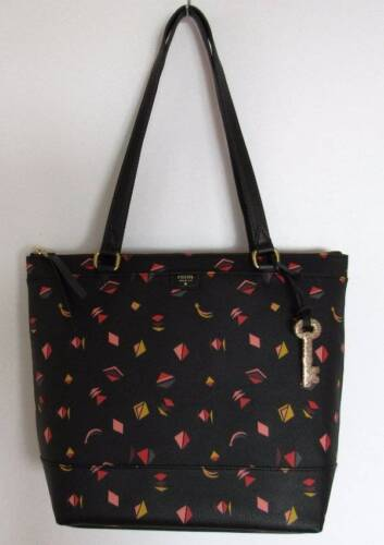 Fossil Gift Black Multi Print Shopper Bag #ZB6689016 NWT