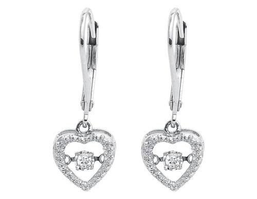 White Gold Finish Dancing Round Diamond Heart Fashion Hoops Dangle Earrings 1...