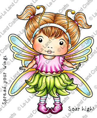 New La La Land Crafts BUTTERFLY MARCI Cling Rubber Stamp Girl Spring Fairy Wings