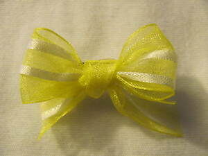 Yellow-and-White-Dog-Puppy-Pet-Hair-Bow-Ribbon-on-Alligator-Clip