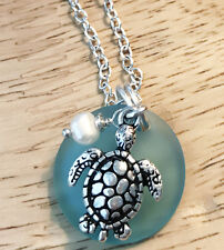 Beach Summer Blue Sea Glass Turtle Freshwater Pearl Silver Long Necklace Chain