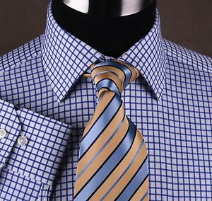 Egyptian-Cotton-Blue-Twill-Checkered-Formal-Business-Dress-Shirt-Luxury-B2B-Boss