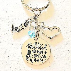 shell keychain mermaid keychain birthstone gift beach gift Ocean keychain beach key chain mermaid gift beach keychain mermaid lover