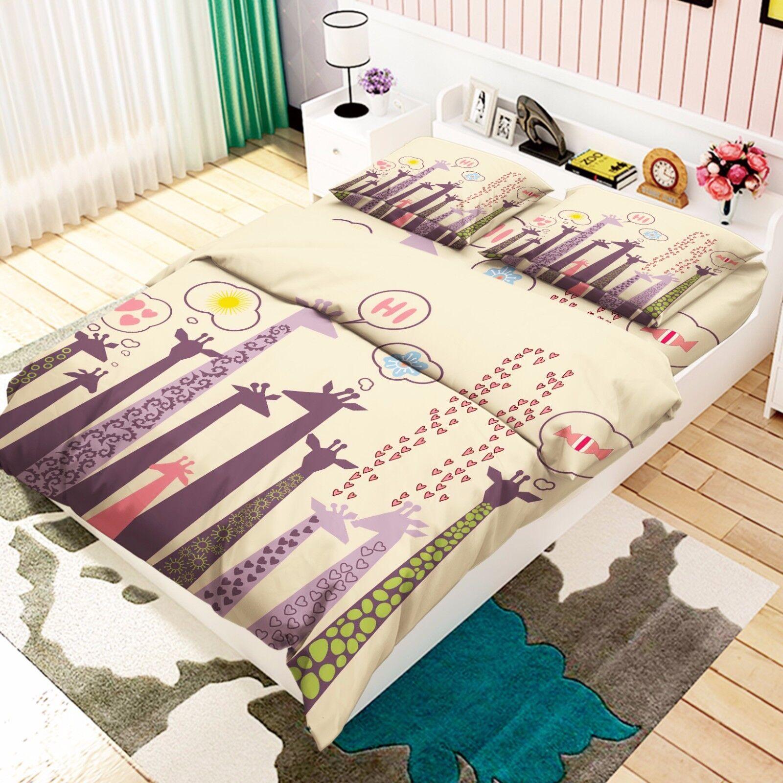 3D Giraffe Paint 806 Bed Pillowcases Quilt Duvet Cover Set Single Queen UK Kyra
