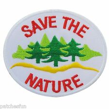 Save the Nature Energy Tree Water Love Earth World White Iron on Patch Bag #1418