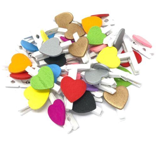 30mm White Peg and 17mm Multi Colour Hearts Craft For ShabbyChic Vintage Wedding