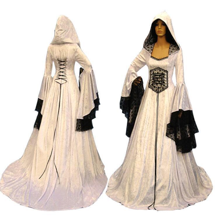 Women White Hooded Swing Full Length Dress Halloween Bell Sleeve Gown Ske15