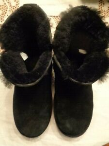 a5fc5a796ef Details about KOOLABURRA by UGG black suede classic mini winter boots  1015209 women's 8/39
