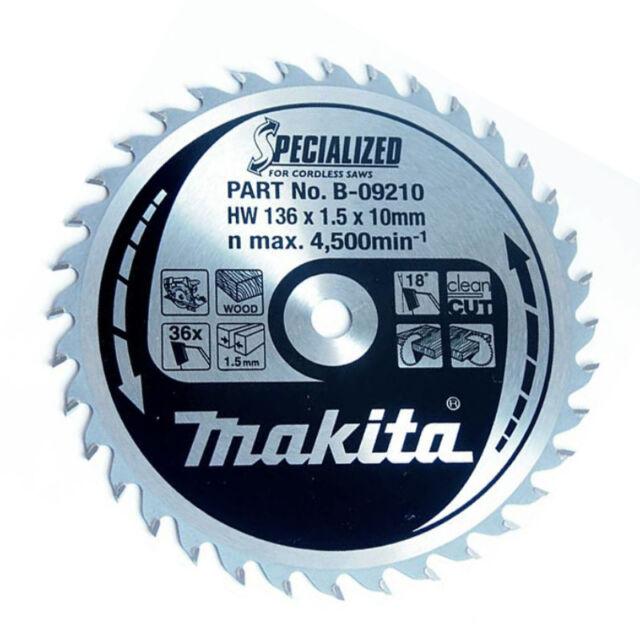 Makita SPECIALIZED B-09210 Lame de scie circulaire 136 mm X 10 mm x 36 t sans fil bois