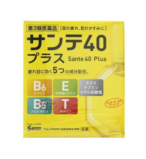 Sante 40 Plus Eye Drops with 5 Active Ingredients 12ml Santen Made in Japan