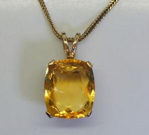 Gorgeous-Estate-14K-Gold-LARGE-32-Ct-Fancy-Cut-Citrine-Pendant-w-14K-Necklace