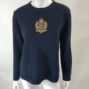 cotone Crest in Lauren blu Pullover ricamato Maglione Vintage L Ralph qxS0w1nRI