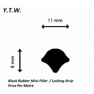 Classic Mini Windscreen Filler Bead Trim Black Rubber Strip Front or Rear 3metre