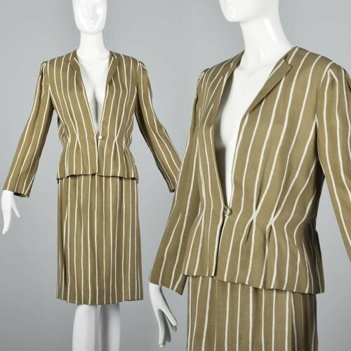 L Vintage 1980s 80s Pauline Trigere Striped Skirt… - image 1