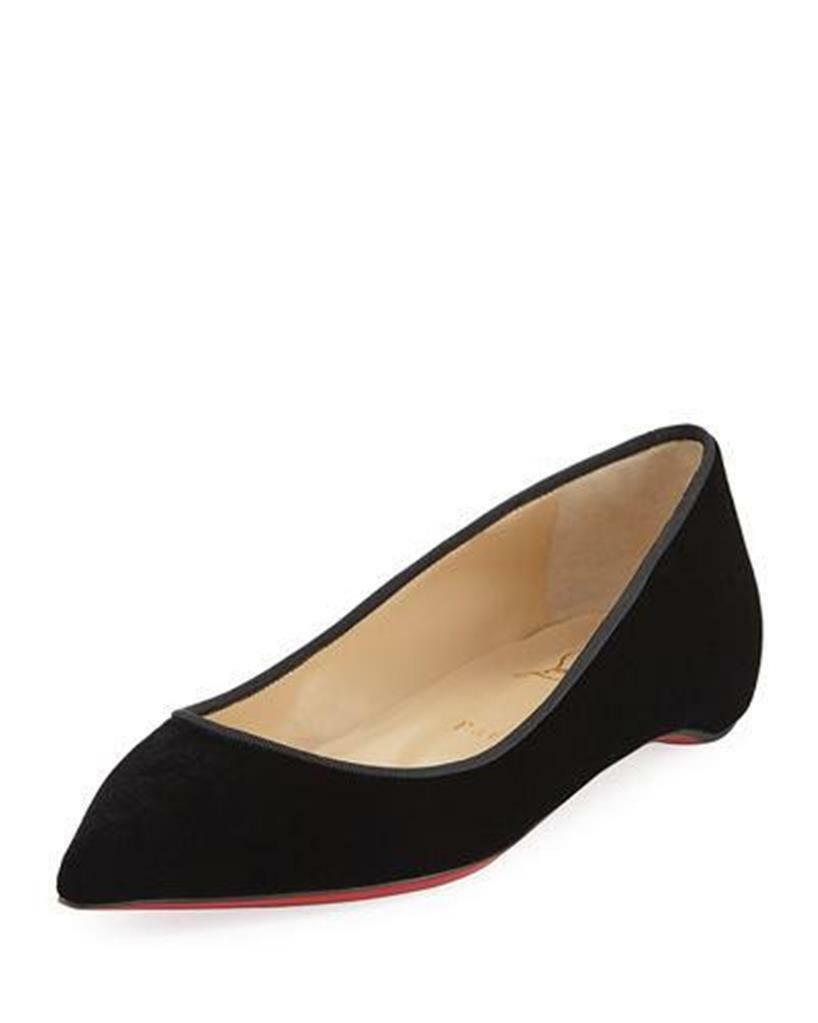 Christian Louboutin PIGALLE FOLLIES Stamped Velvet Flats shoes Black  645