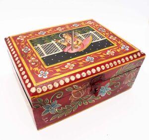 Boite-en-bois-peint-ethnique-Coffret-en-bois-indien