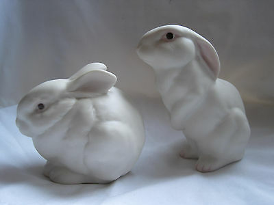 BEAUTIFUL PAIR OF CYBIS RABBITS WHITE PORCELAIN BISQUE - MINT