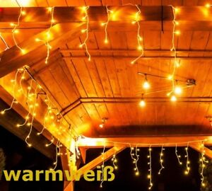 500 leds lichterkette weihnachtsbeleuchtung eisregen deko innen au en warmwei ebay. Black Bedroom Furniture Sets. Home Design Ideas
